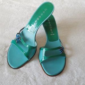 Casadei Blue Green Kitten Heel Slides Sand…